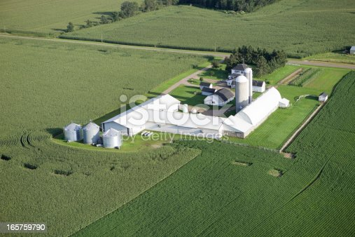 Evening shot of a white mid-summer farm surrounded by cornfields. Shot from the open window of a small plane.