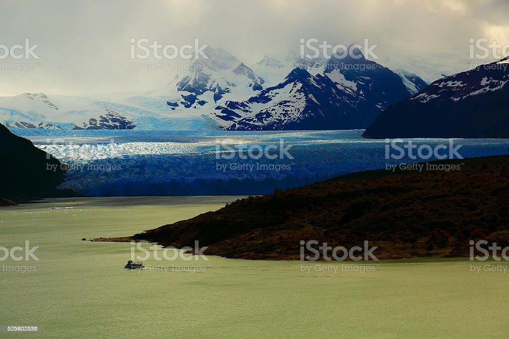 Aerial Moreno Glacier, ship cruise, Lake Argentina, Patagonia, Calafate stock photo