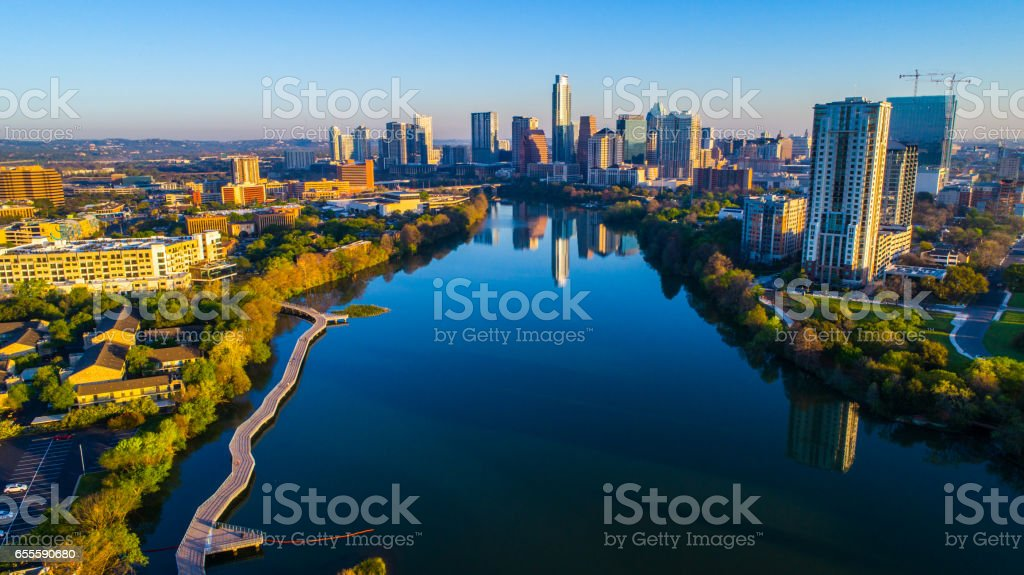Aerial Morning Austin Texas Colorado Sunrise above Riverside Pedestrian Walking Bridge stock photo