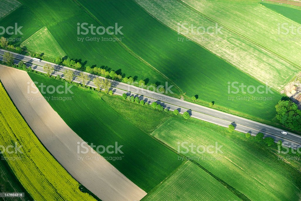 Aerial motorway - distant view stock photo
