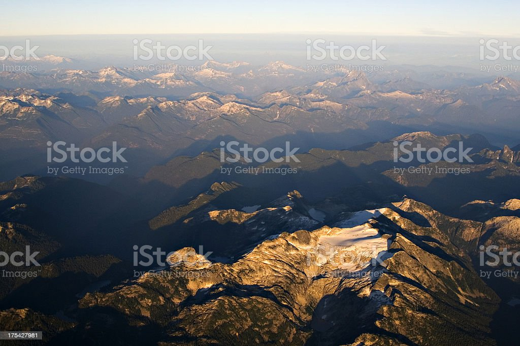 Aerial: mountains north of Vancouver, Canada royalty-free stock photo