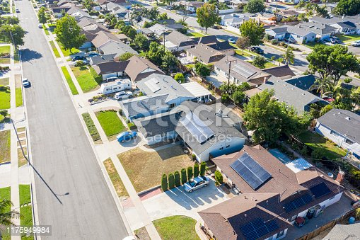 A neighborhood in southern California where many homes have solar panels installed
