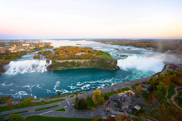 Aerial Niagara Falls in autumn stock photo