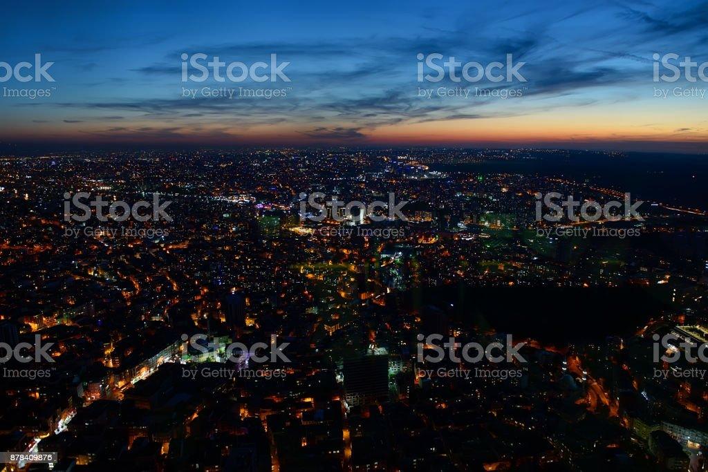 Aerial night panoramic stock photo