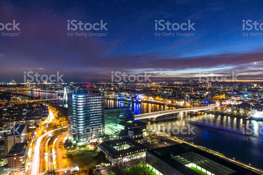 aerial night scene of cologne royalty free stock photo