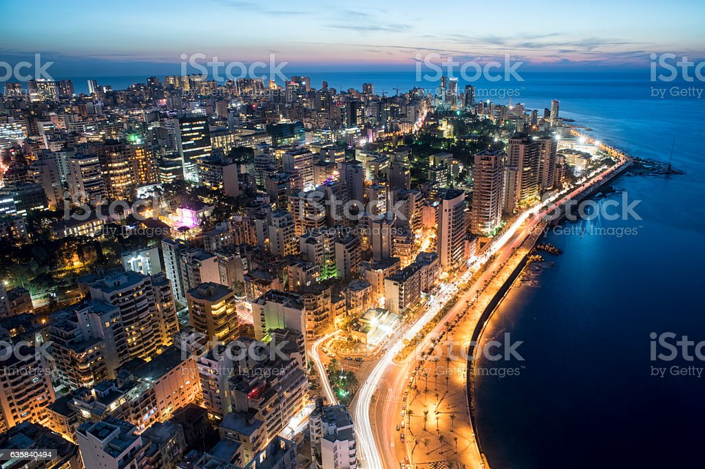 Aerial night shot of Beirut Lebanon , City of Beirut – Foto
