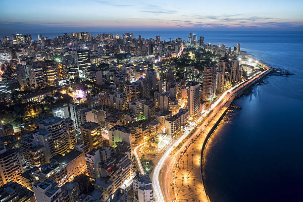 Aerial night shot of Beirut Lebanon , City of Beirut Aerial night shot of Beirut Lebanon , City of Beirut, Beirut city scape beirut stock pictures, royalty-free photos & images