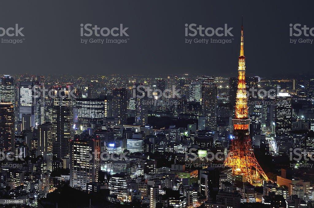 Aerial night shot of Tokyo cityscape stock photo