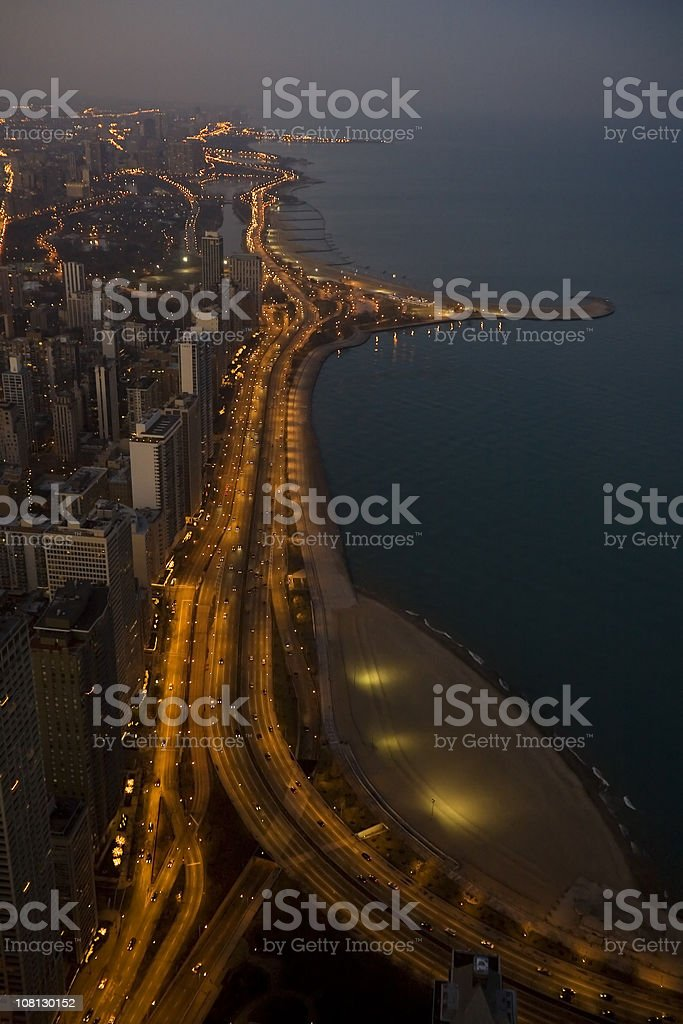 Aerial Night View, Chicago Lakeshore royalty-free stock photo