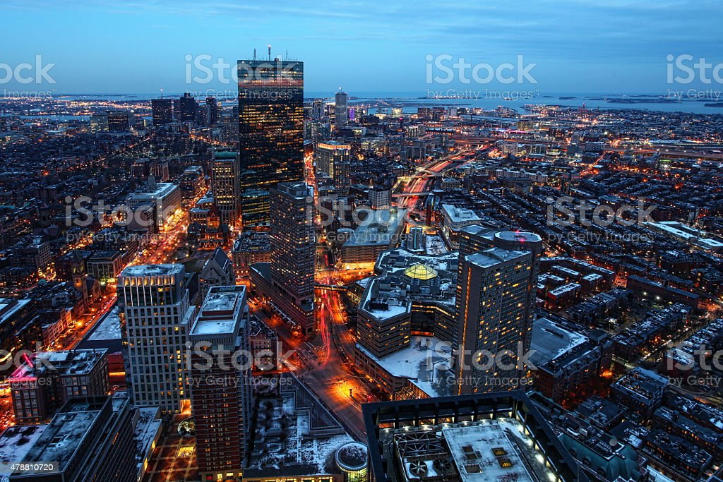 Aerial night view of Boston city center, Massachusetts stock photo