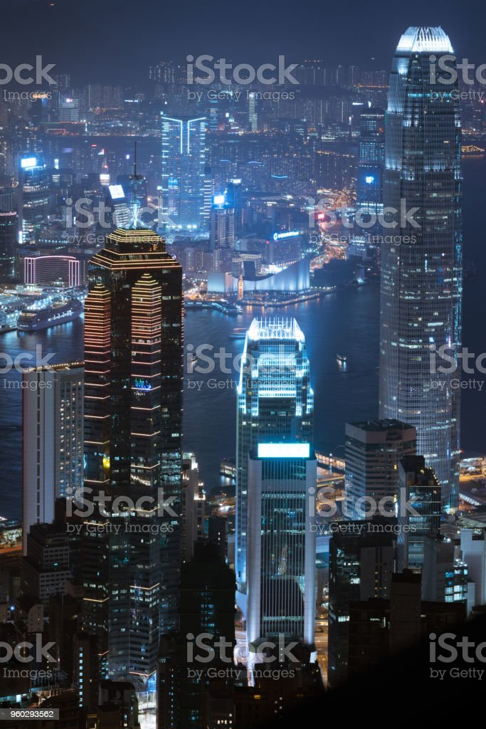 Aerial night view of Central illuminated cityscape from Hong Kong Victoria Peak stock photo