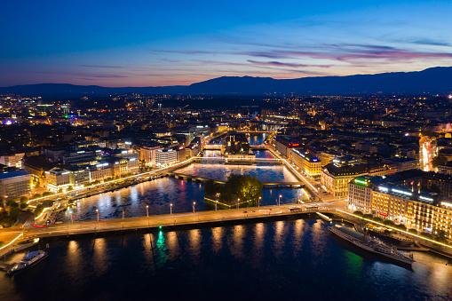 Aerial  night view of Geneva city waterfront skyline in Switzerland