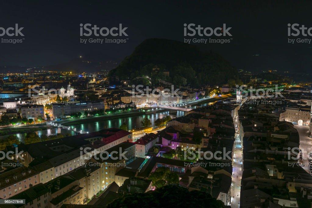 Aerial night view of old Salzburg - Zbiór zdjęć royalty-free (Architektura)