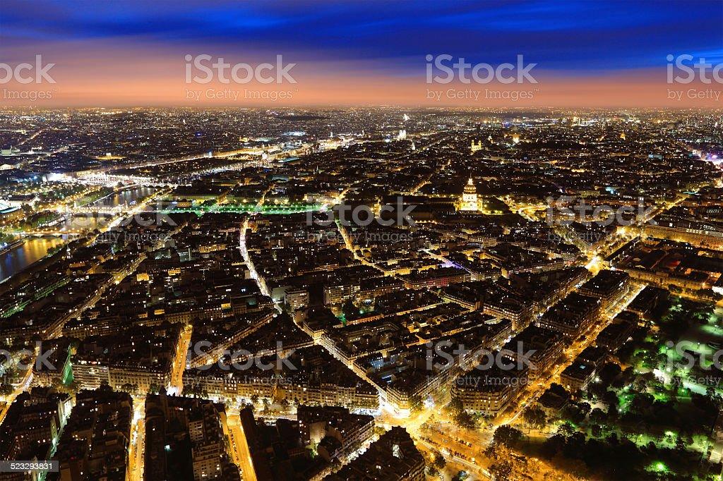 Aerial Night view of Paris stock photo