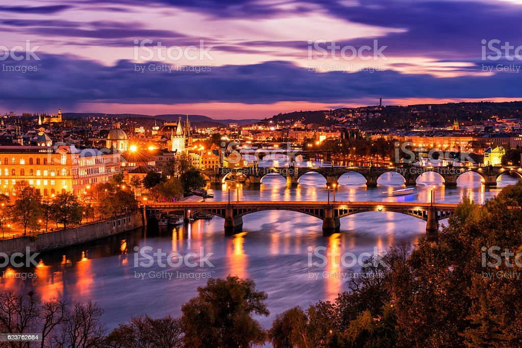 Aerial night view of Prague old town architecture and bridges – Foto