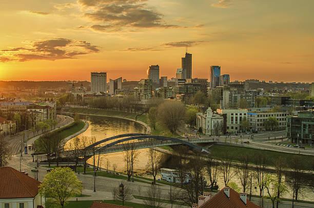 Aerial night view of Vilnius (Lithuania) stock photo