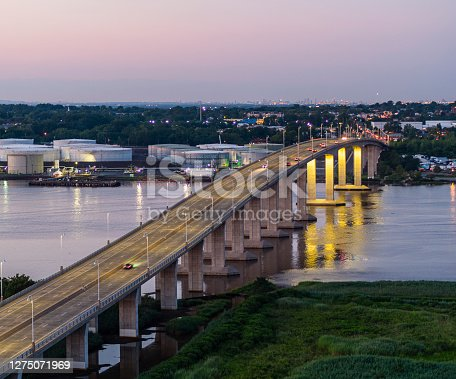 Aerial view on the Victory Bridge over the Raritan River, New Jersey, in the night.