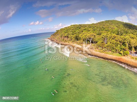 Aerial View at Noosa Heads Surfing Tea Tree Bay