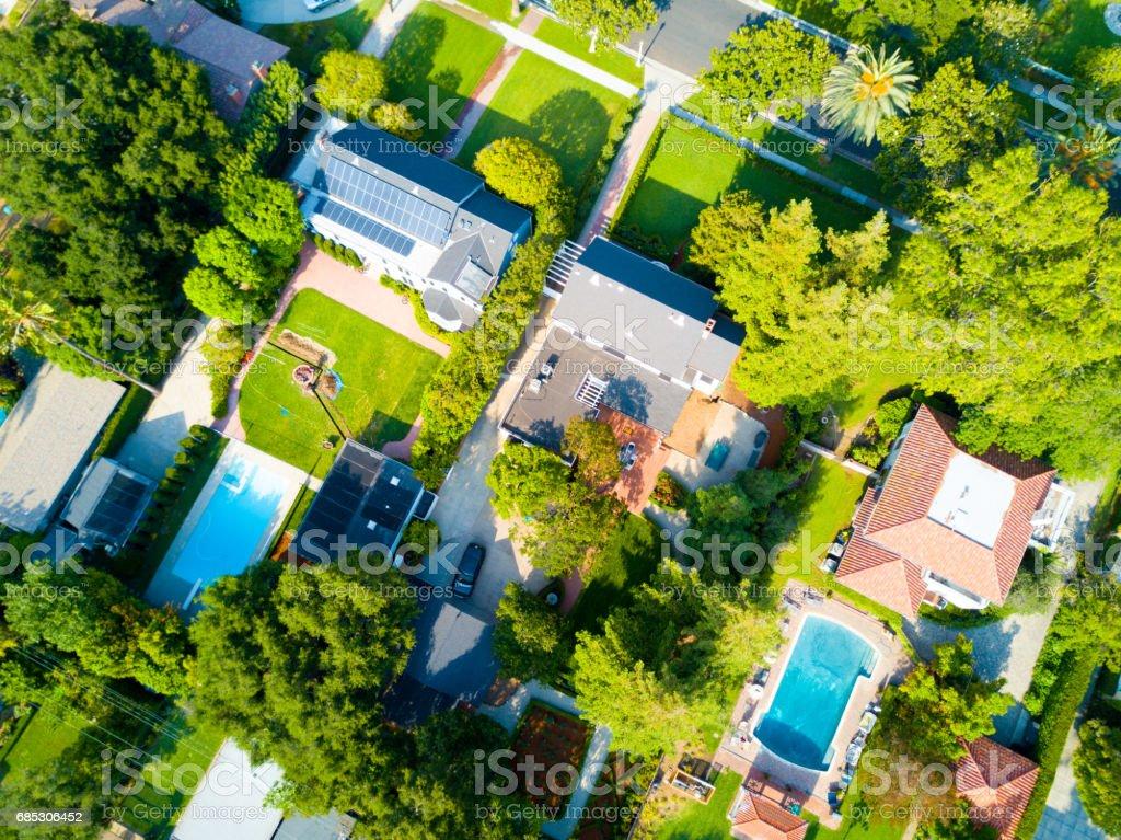 Aerial of a Neighborhood stock photo