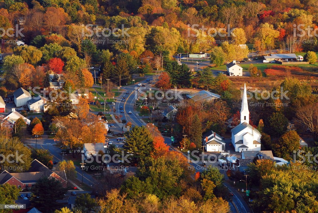 Aerial of a New England Village stock photo