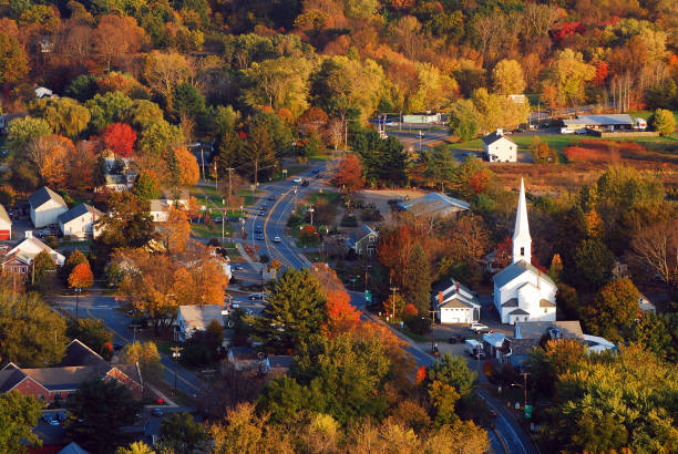 Aerial of a New England Village - foto stock