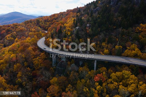 Aerial of a Winding Highway Through a Forest in Autumn