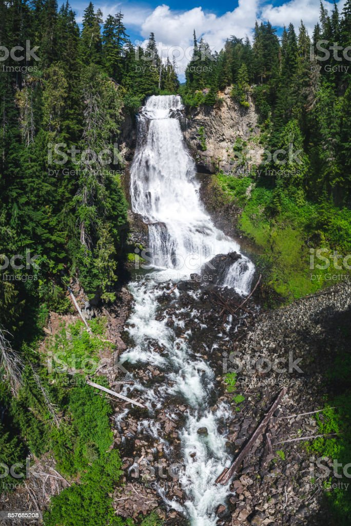 Aerial of Alexander Falls by Whistler in British Columbia stock photo