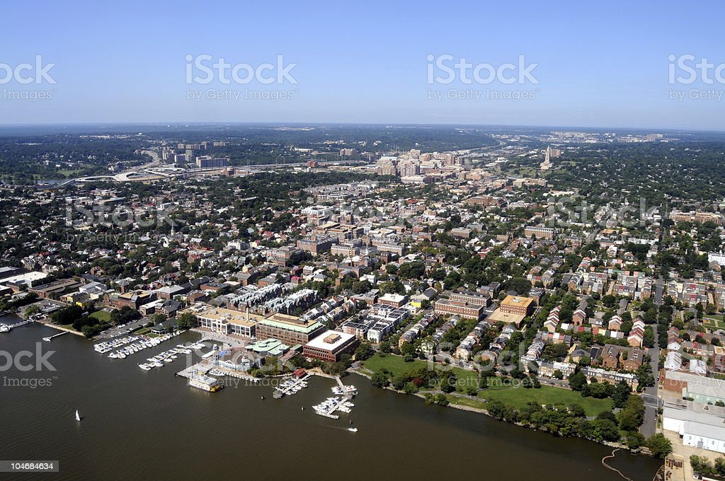 Aerial of Alexandria, Virginia stock photo