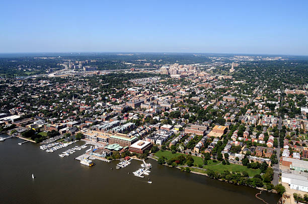 Aerial of Alexandria, Virginia  old town stock pictures, royalty-free photos & images