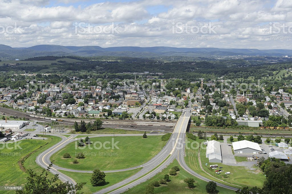 Aerial of American Mountain Town in Summer stock photo