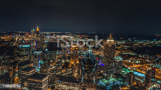 Aerial of Atlanta at Night