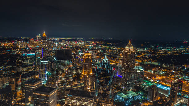 Aerial of Atlanta at Night stock photo