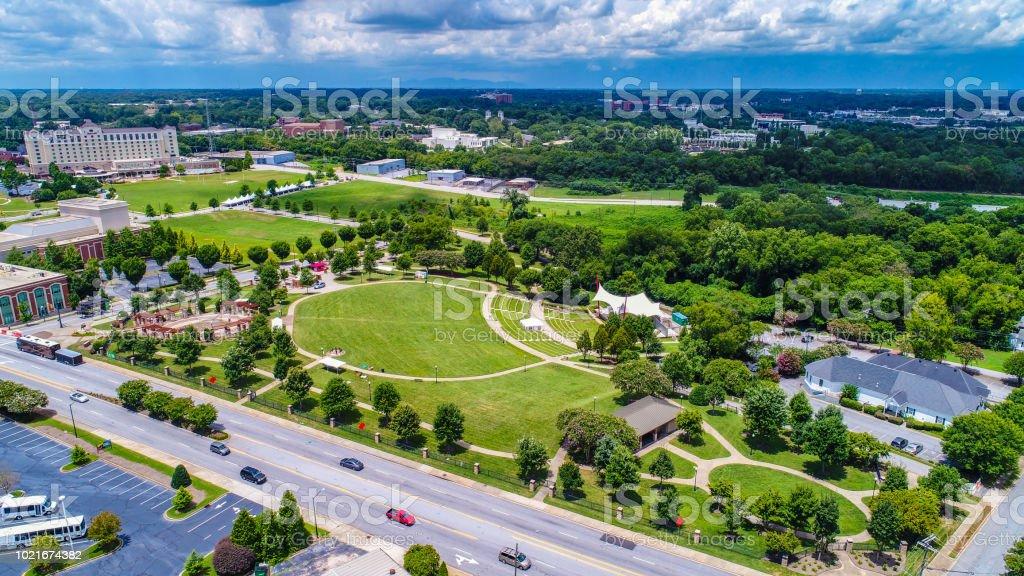 Aerial of Barnet Park in Spartanburg South Carolina SC stock photo