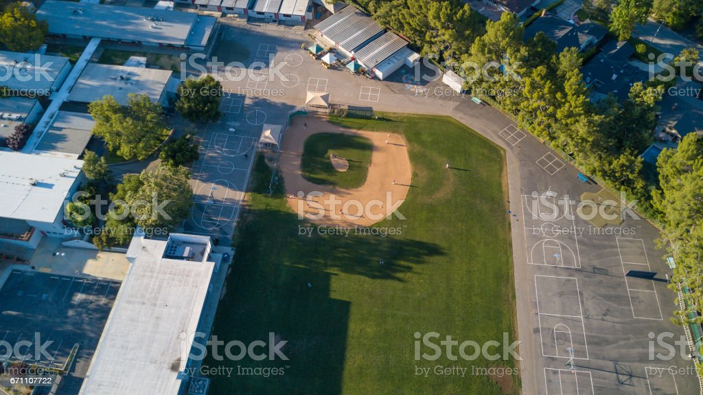 Aerial of Baseball Field stock photo