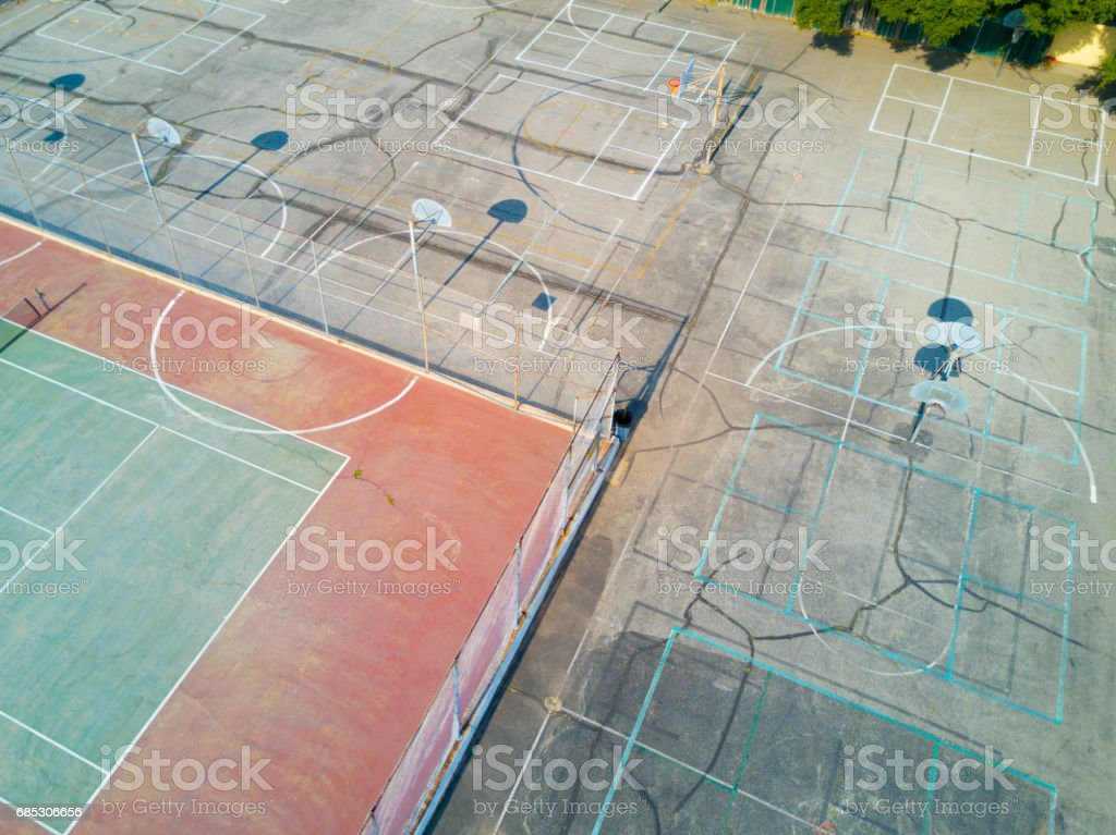 Aerial of Basketball Court stock photo