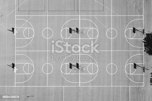 istock Aerial of Basketball Courts 669409928
