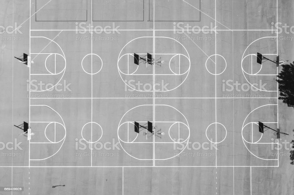 Aerial of Basketball Courts stock photo