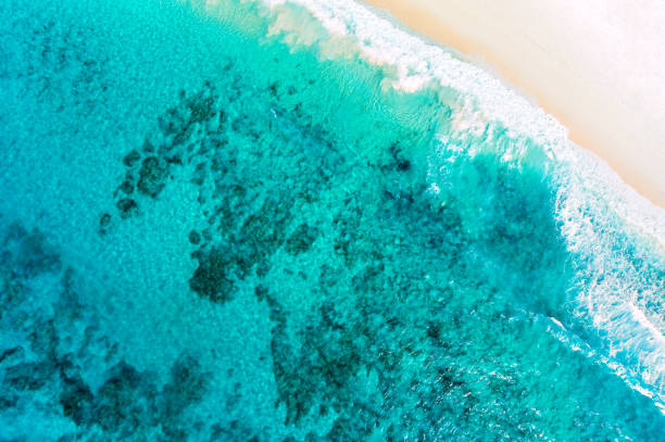 aerial of beautiful lagoon with beach stock photo