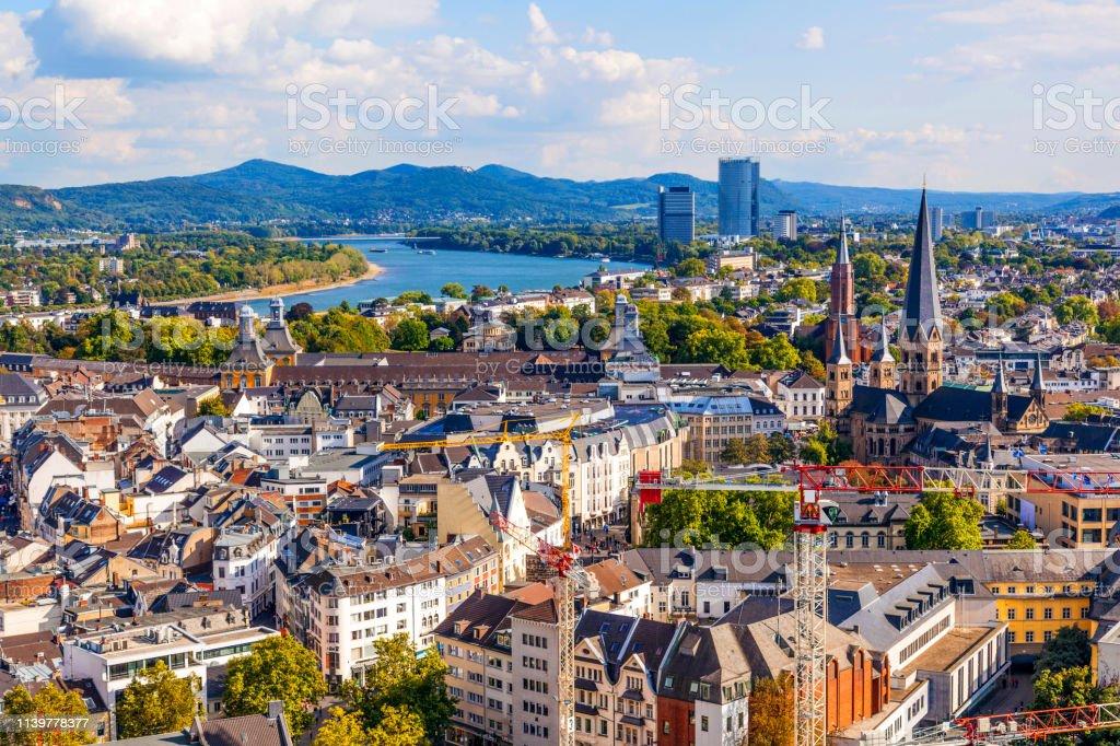 Antenne der ehemaligen Hauptstadt Bonn - Lizenzfrei Anhöhe Stock-Foto