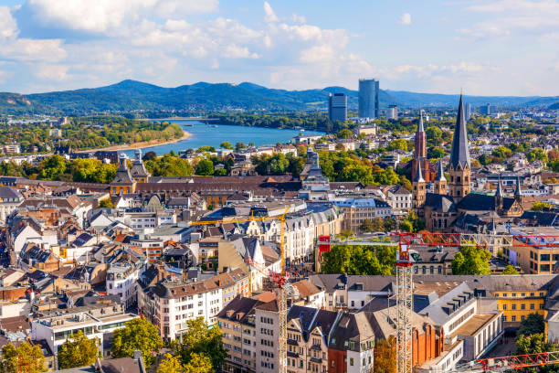 aerial of Bonn, the former capital of Germany stock photo