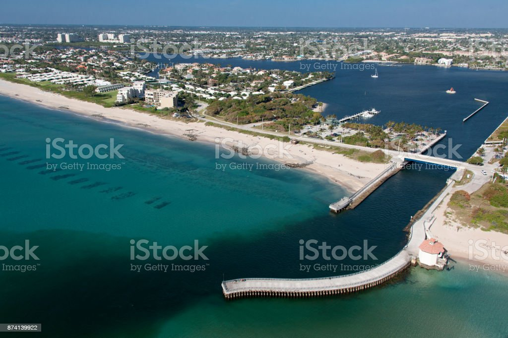 Aerial of Boynton Beach Inlet stock photo