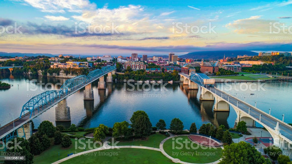 Aerial of Chattanooga Tennessee TN Skyline royalty-free stock photo