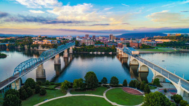 Aerial of Chattanooga Tennessee TN Skyline Aerial of Chattanooga Tennessee TN Skyline tennessee stock pictures, royalty-free photos & images
