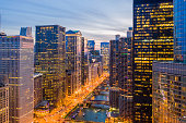 Aerial View of Chicago Riverwalk at Golden Hour