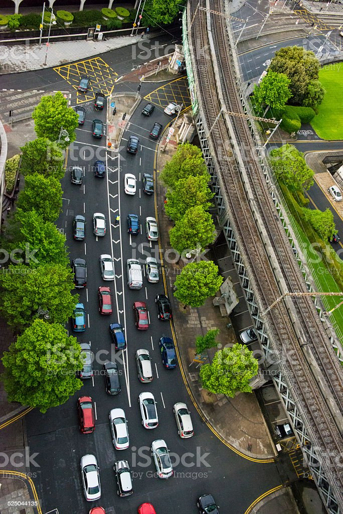 Aerial of city traffic stock photo