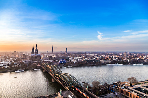 Aerial Of Cologne In Sunset Stock Photo - Download Image Now