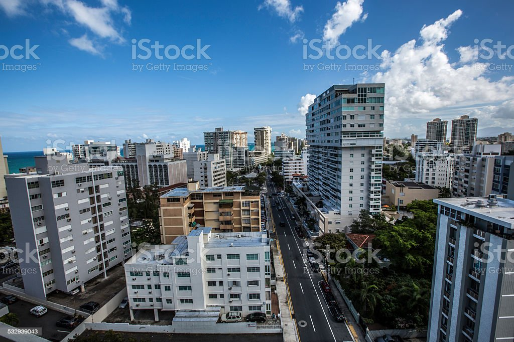 Aerial of Condado stock photo
