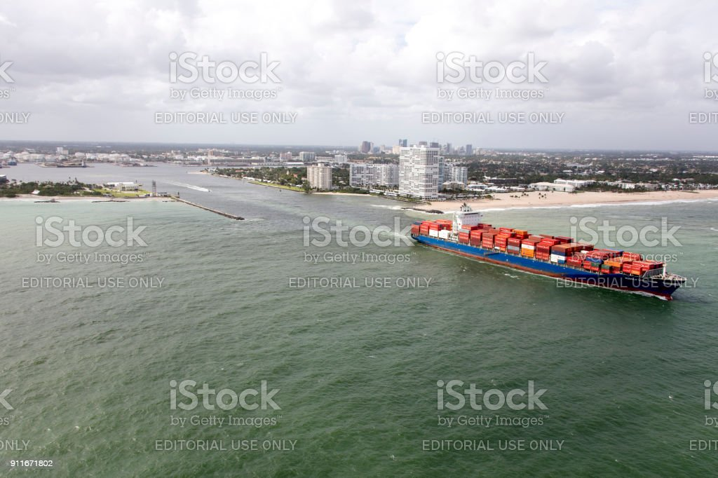 Aerial of Container ship leaving Port Everglades stock photo