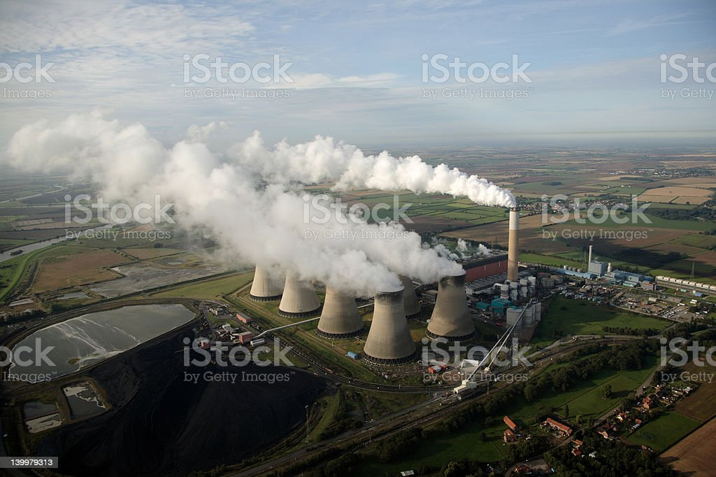 Aerial of cooling Towers stock photo