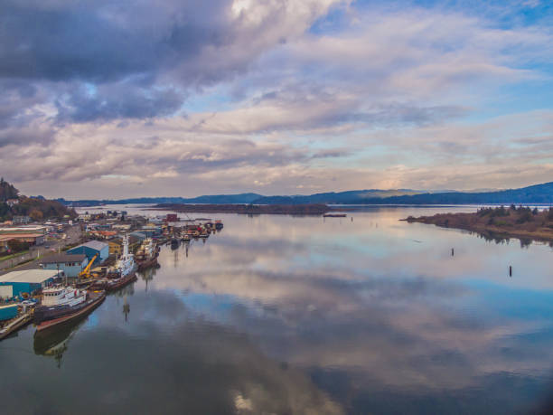 Aerial of Coos Bay, Oregon Aerial drone image of Coos Bay in Oregon, also showing Mills Casino bay of water stock pictures, royalty-free photos & images